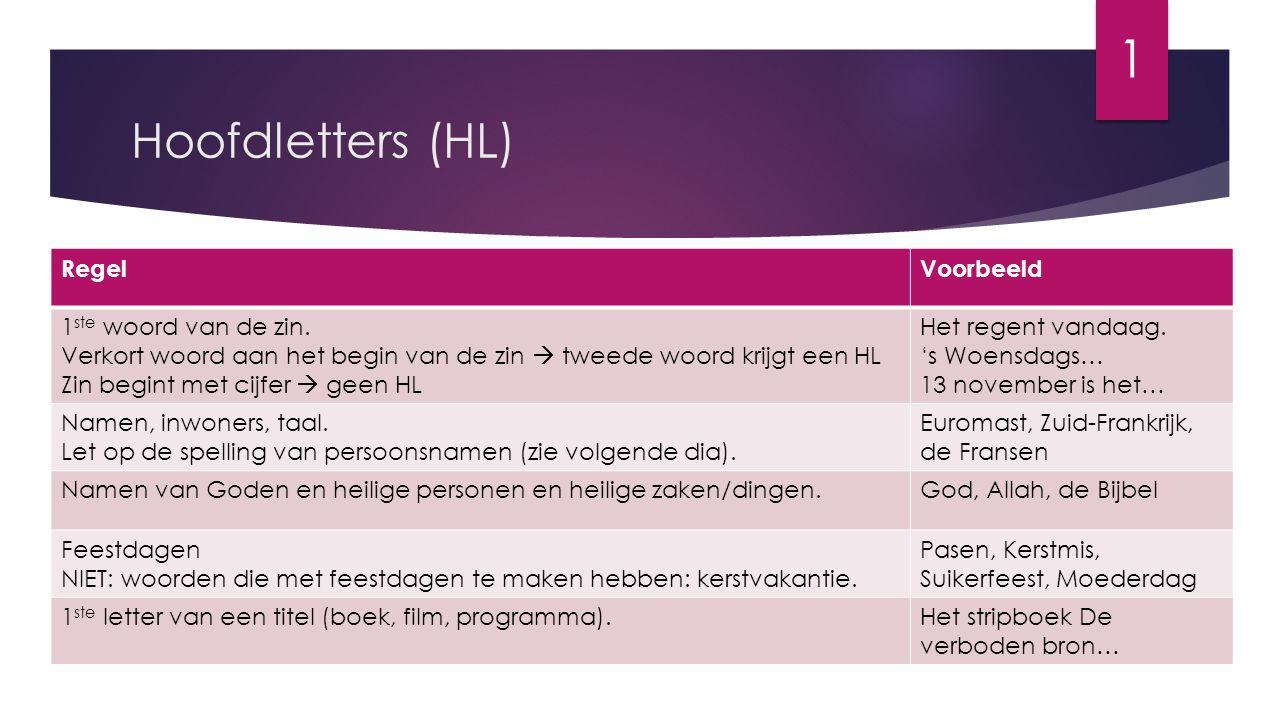 1 Hoofdletters (HL) Regel Voorbeeld 1ste woord van de zin.