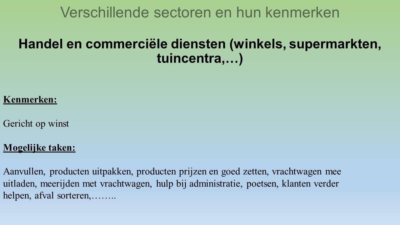 Verschillende sectoren en hun kenmerken Handel en commerciële diensten (winkels, supermarkten, tuincentra,…)