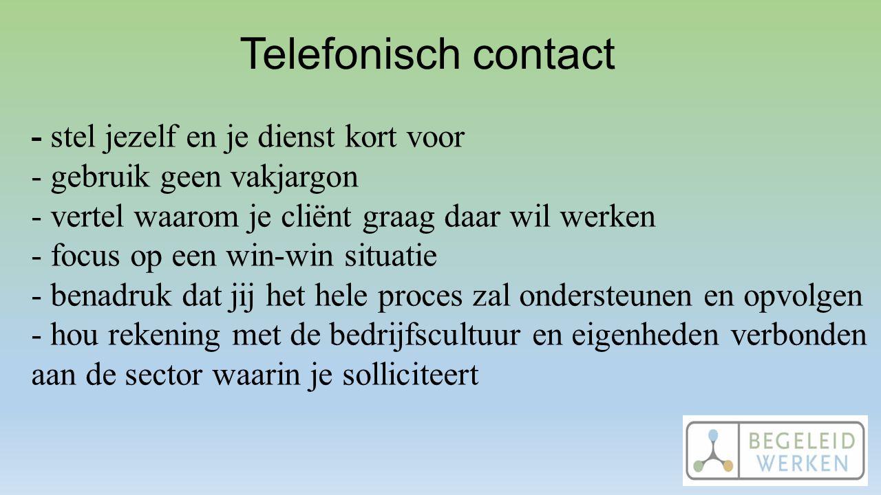 Telefonisch contact - stel jezelf en je dienst kort voor