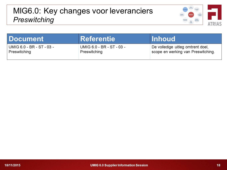 MIG6.0: Key changes voor leveranciers Preswitching