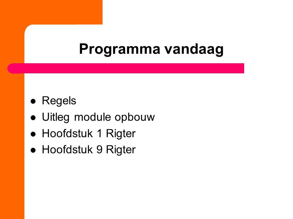 Programma vandaag Regels Uitleg module opbouw Hoofdstuk 1 Rigter