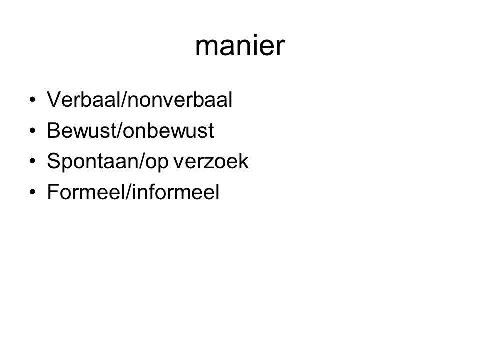 manier Verbaal/nonverbaal Bewust/onbewust Spontaan/op verzoek