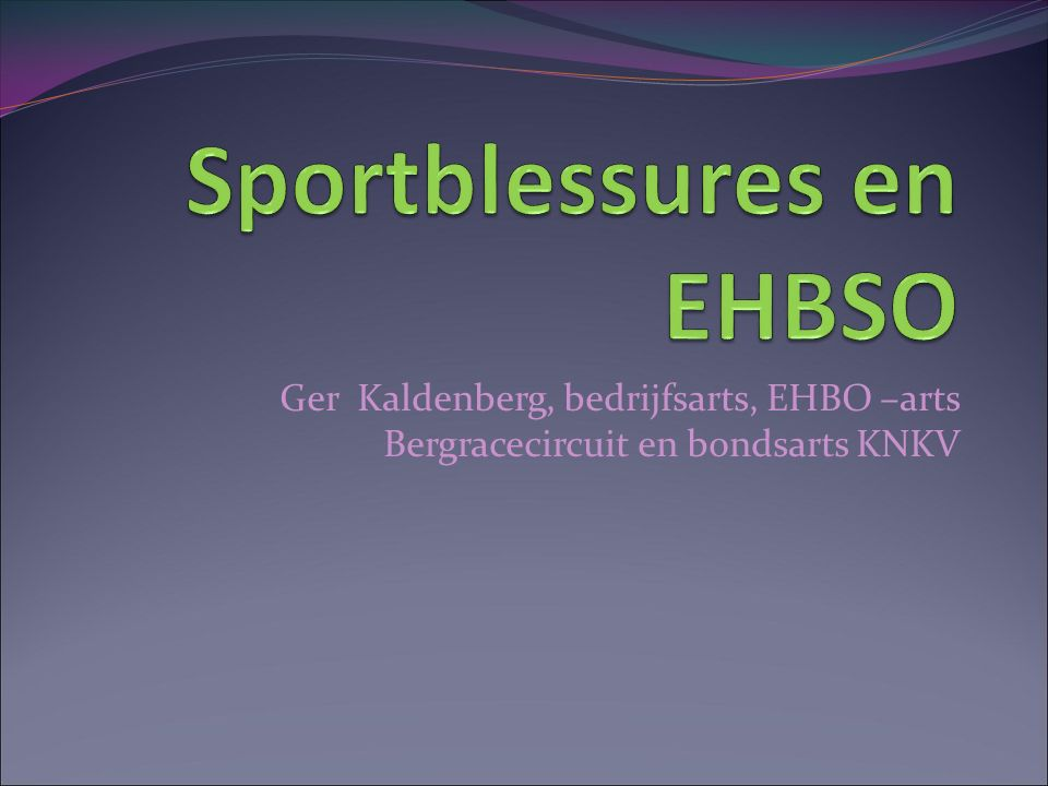 Sportblessures en EHBSO