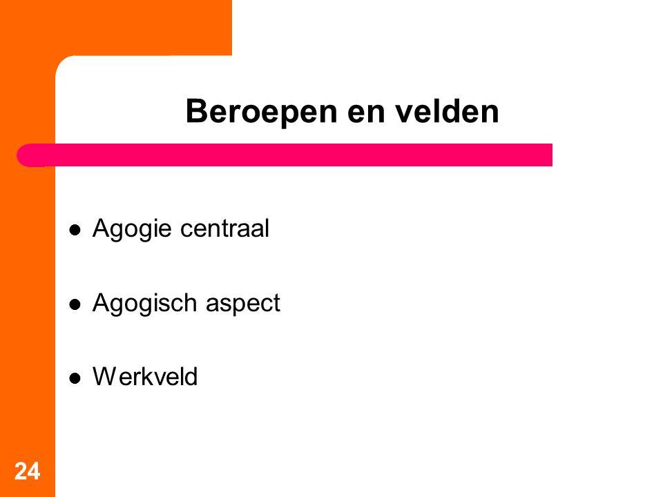 Beroepen en velden Agogie centraal Agogisch aspect Werkveld
