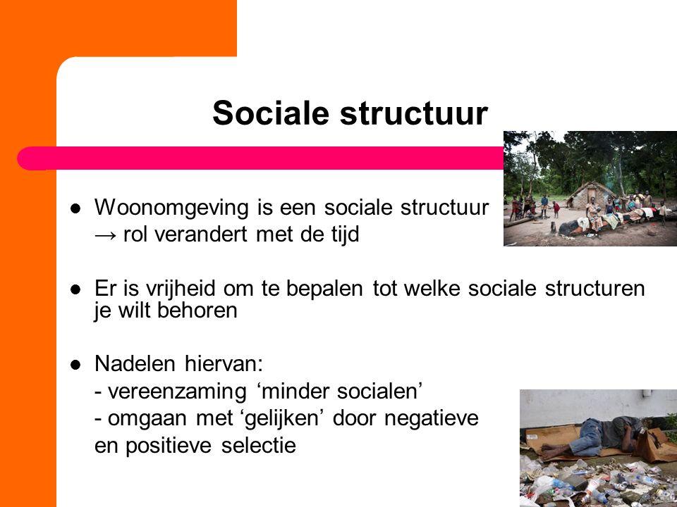 Sociale structuur Woonomgeving is een sociale structuur