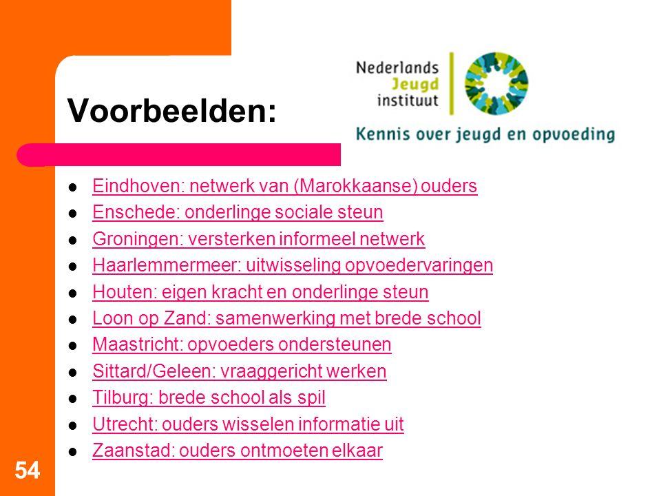 Voorbeelden: 54 Eindhoven: netwerk van (Marokkaanse) ouders