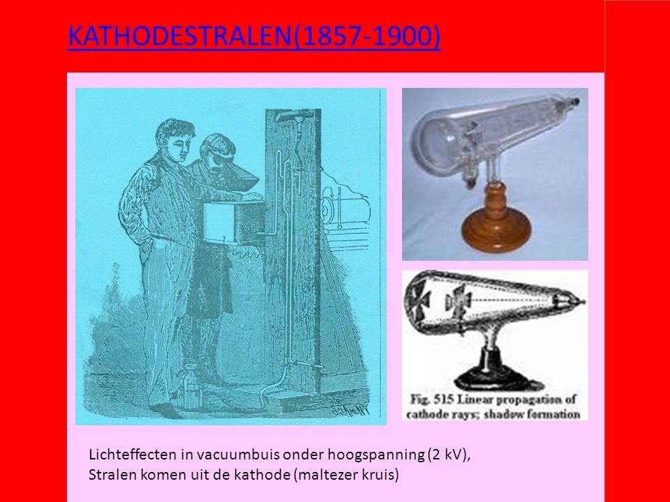 KATHODESTRALEN(1857-1900) Lichteffecten in vacuumbuis onder hoogspanning (2 kV), Stralen komen uit de kathode (maltezer kruis)