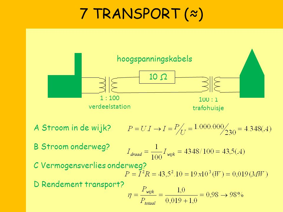 7 TRANSPORT (≈) hoogspanningskabels 10 Ω A Stroom in de wijk