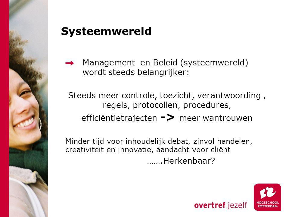 Systeemwereld Management en Beleid (systeemwereld) wordt steeds belangrijker: