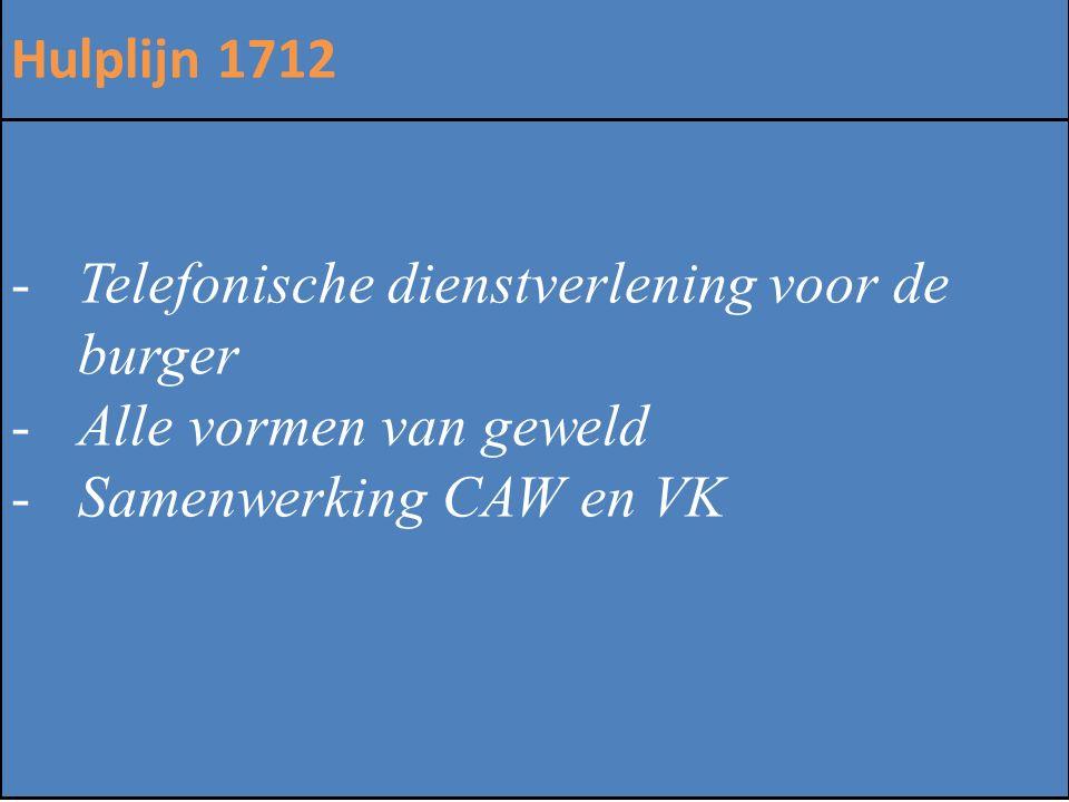 Hulplijn 1712 Telefonische dienstverlening voor de burger. Alle vormen van geweld. Samenwerking CAW en VK.