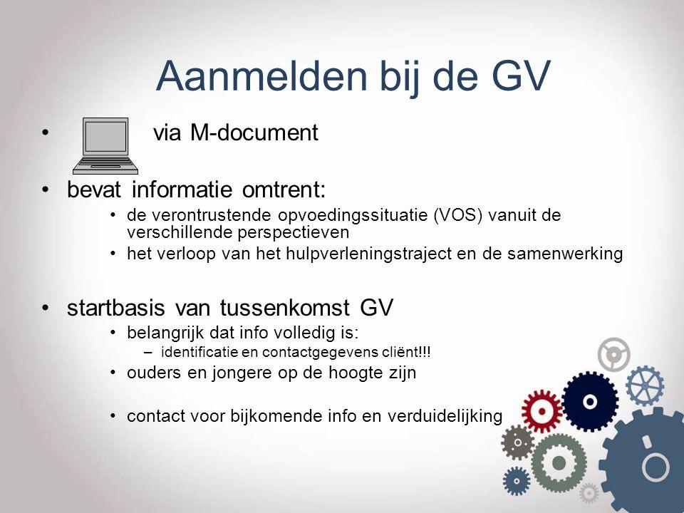 Aanmelden bij de GV via M-document bevat informatie omtrent: