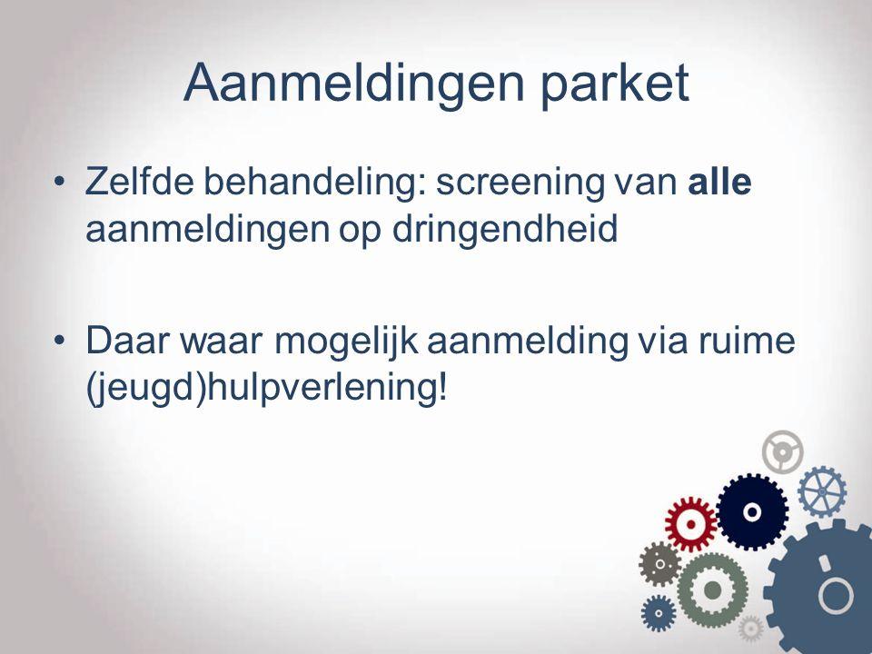 Aanmeldingen parket Zelfde behandeling: screening van alle aanmeldingen op dringendheid.