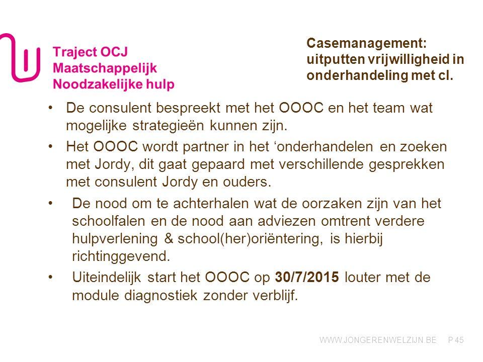 Casemanagement: uitputten vrijwilligheid in onderhandeling met cl.
