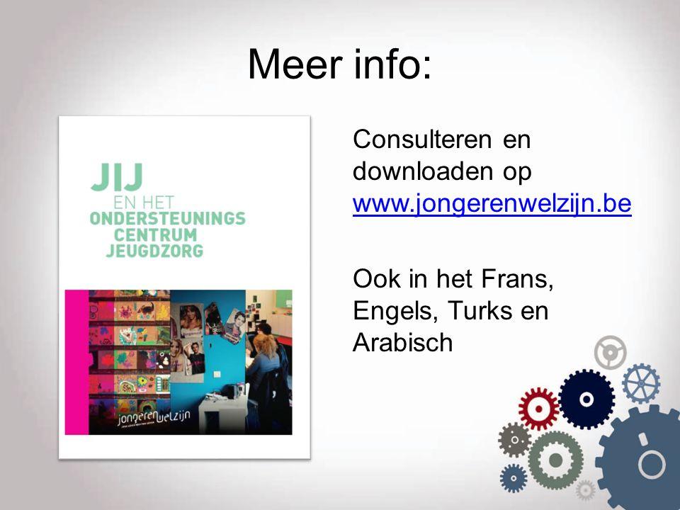Meer info: Consulteren en downloaden op www.jongerenwelzijn.be Ook in het Frans, Engels, Turks en Arabisch