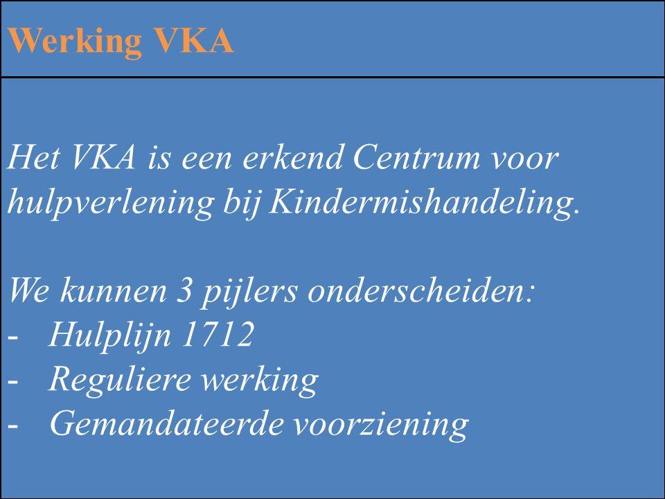 Werking VKA Het VKA is een erkend Centrum voor hulpverlening bij Kindermishandeling. We kunnen 3 pijlers onderscheiden:
