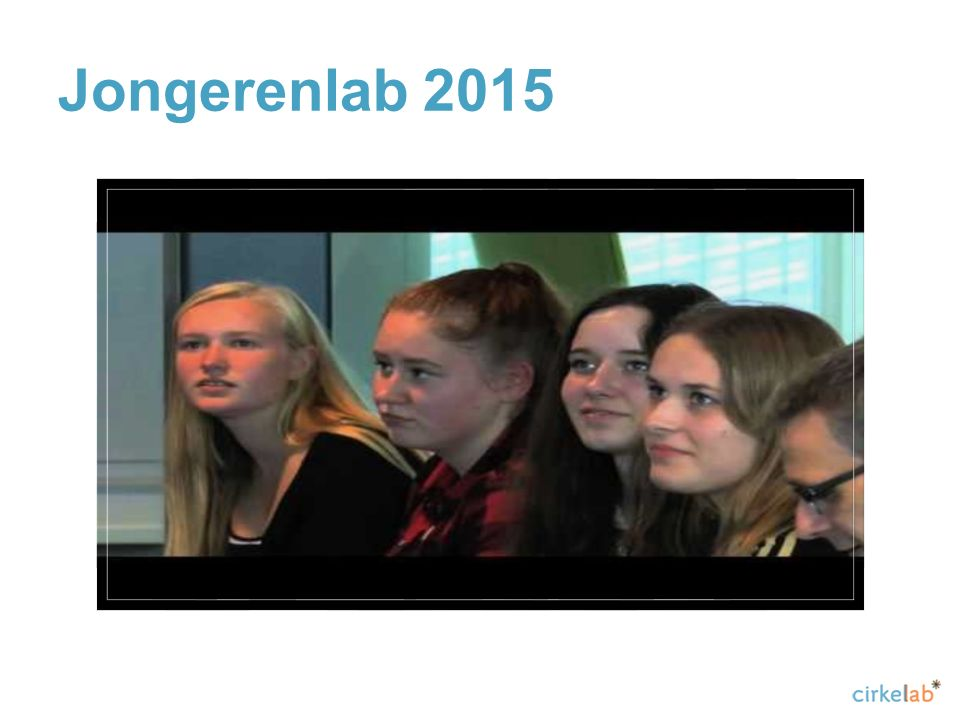 Jongerenlab 2015 Sfeervideo van Jongerenlab editie 2015: https://www.youtube.com/watch v=O7zp6G-AJ7I.