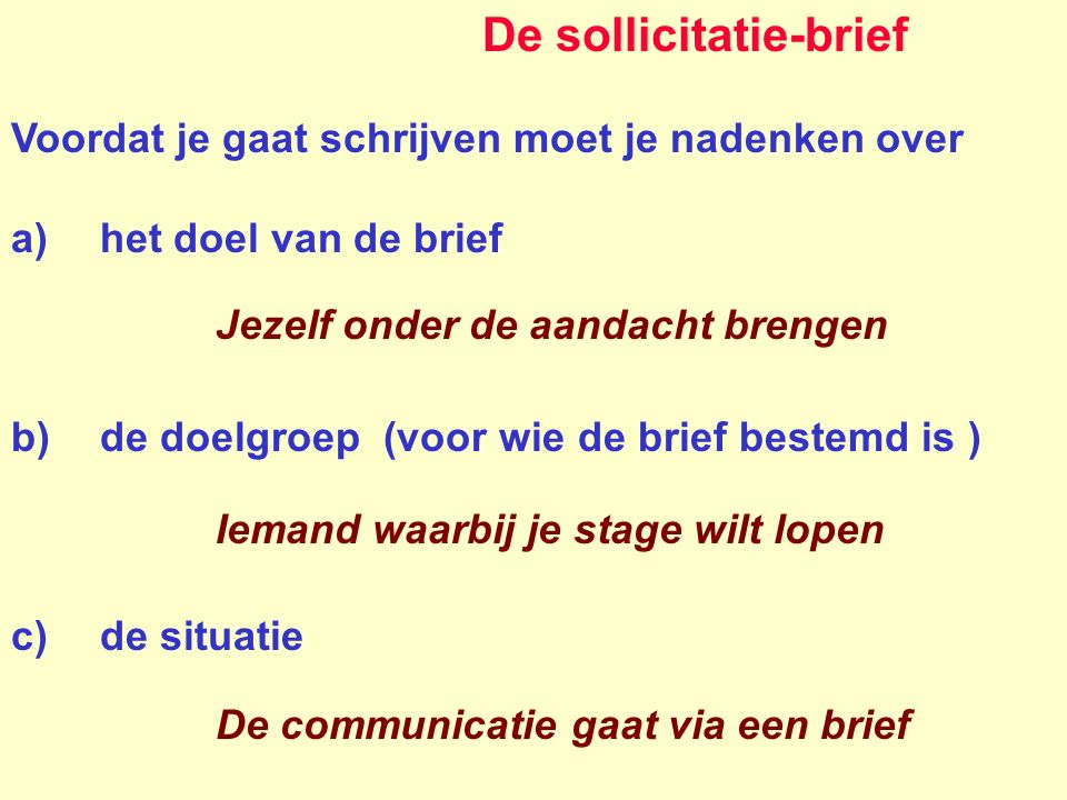 De sollicitatie-brief