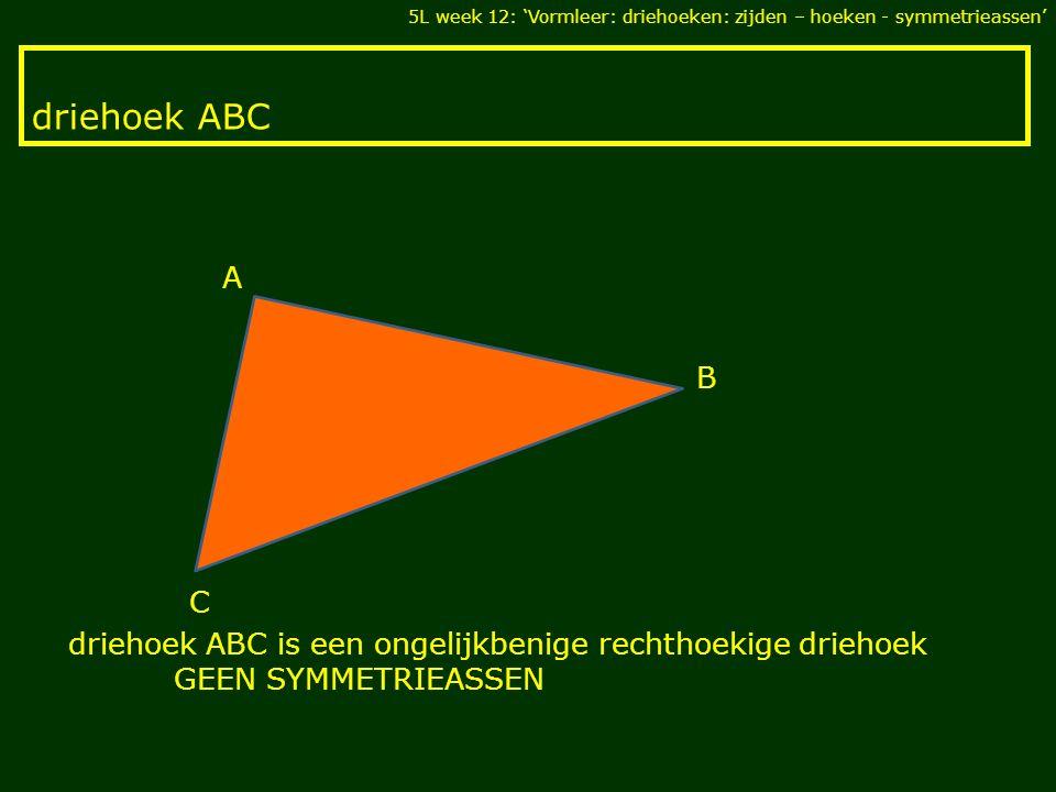 5L week 12: 'Vormleer: driehoeken: zijden – hoeken - symmetrieassen'
