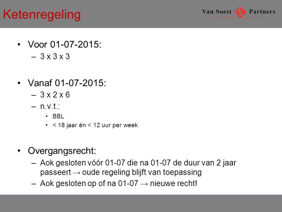 Ketenregeling Voor 01-07-2015: Vanaf 01-07-2015: Overgangsrecht: