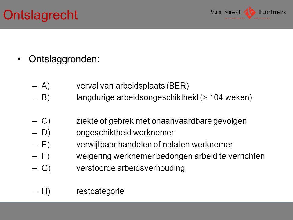 Ontslagrecht Ontslaggronden: A) verval van arbeidsplaats (BER)