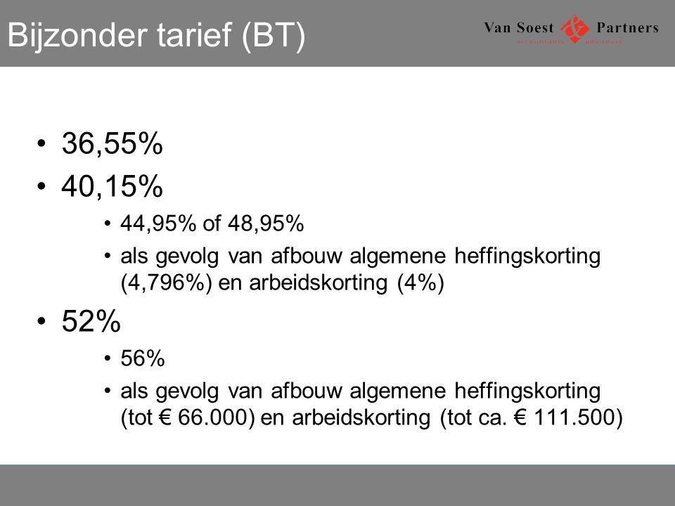 Bijzonder tarief (BT) 36,55% 40,15% 52% 44,95% of 48,95%