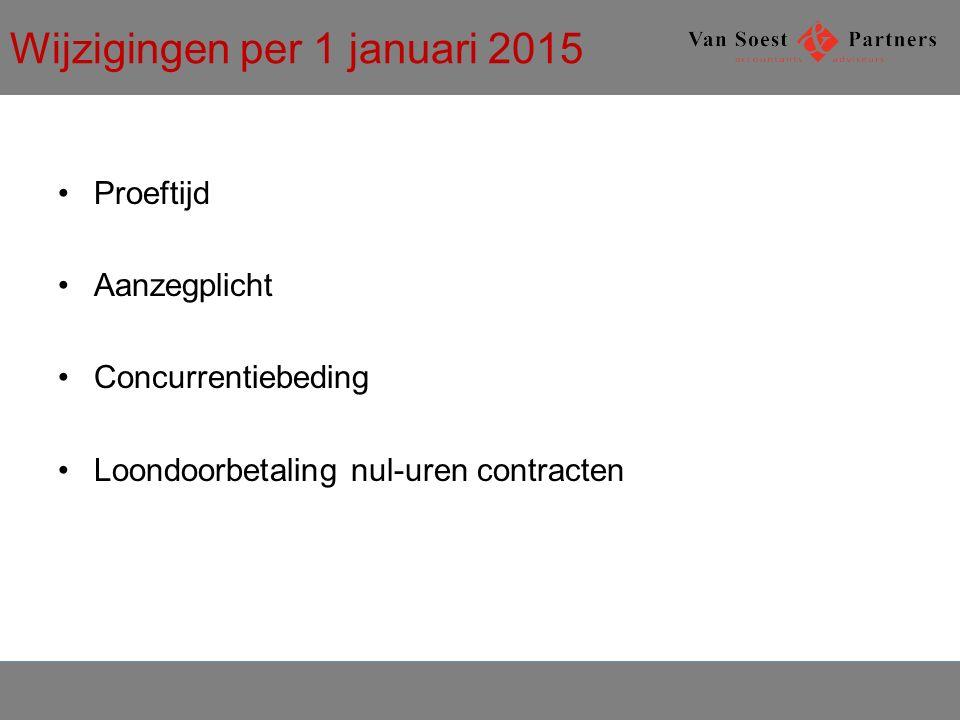 Wijzigingen per 1 januari 2015