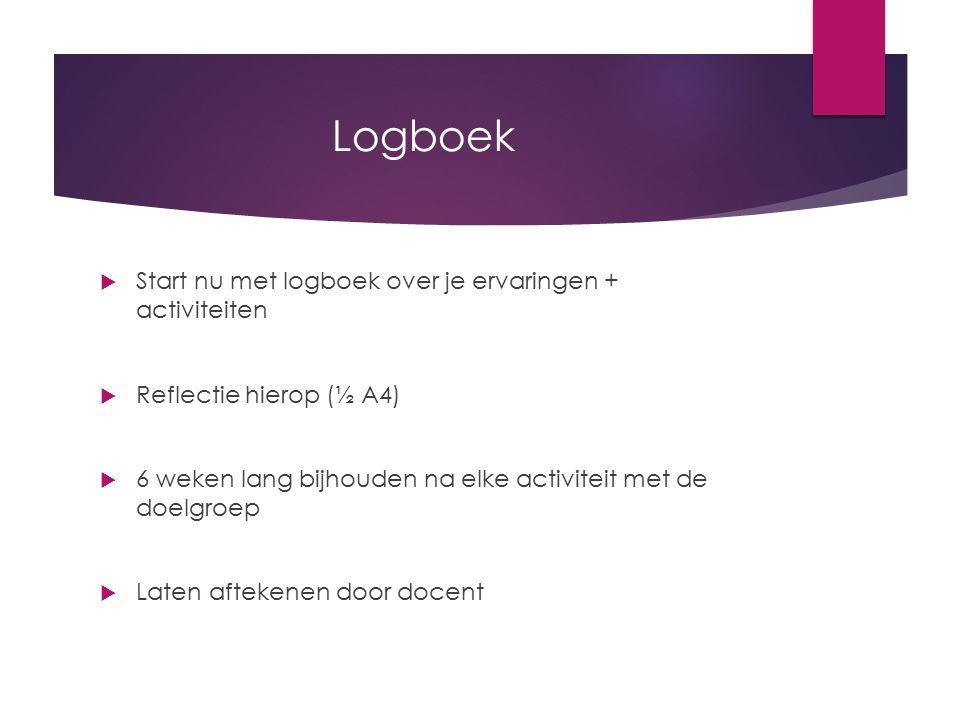 Logboek Start nu met logboek over je ervaringen + activiteiten