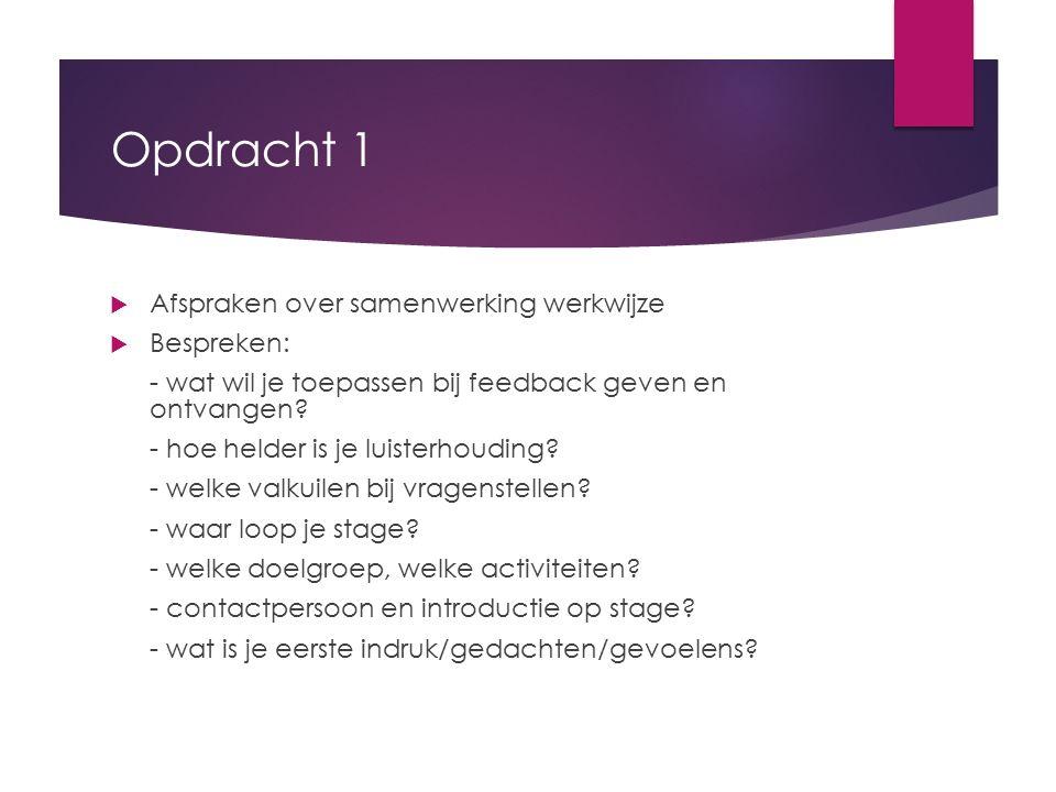 Opdracht 1 Afspraken over samenwerking werkwijze Bespreken: