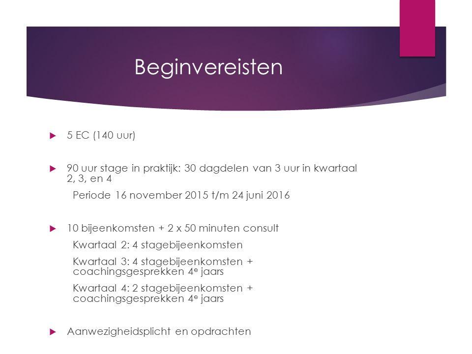 Beginvereisten 5 EC (140 uur)