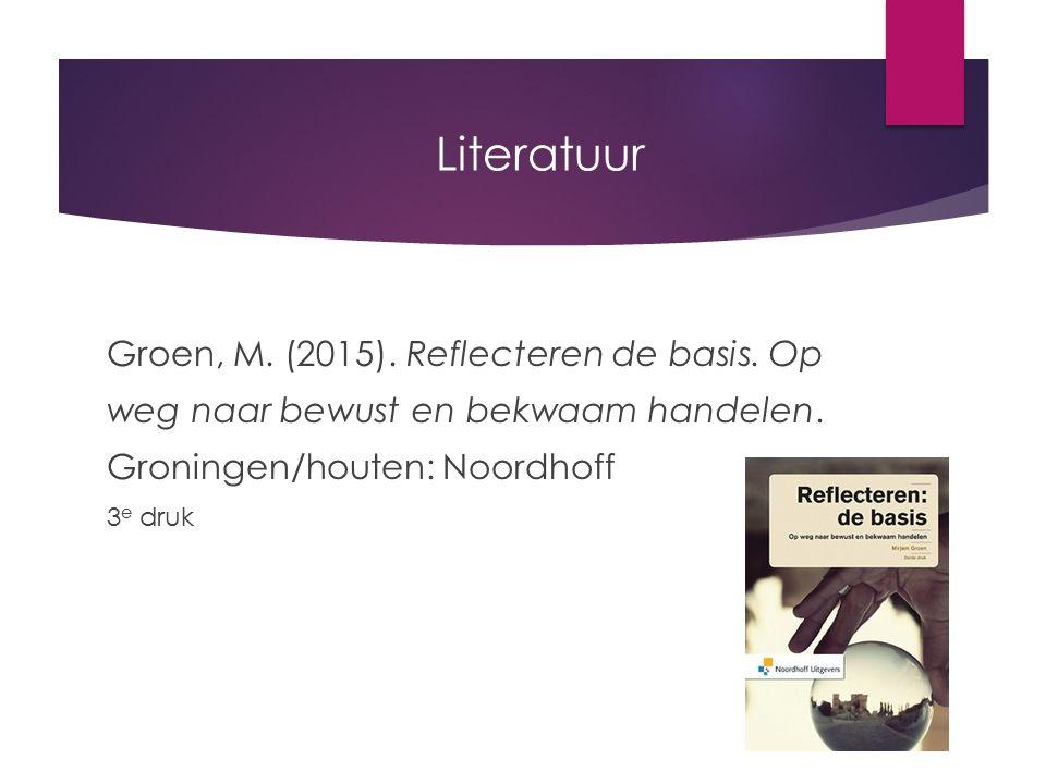 Literatuur Groen, M. (2015). Reflecteren de basis. Op