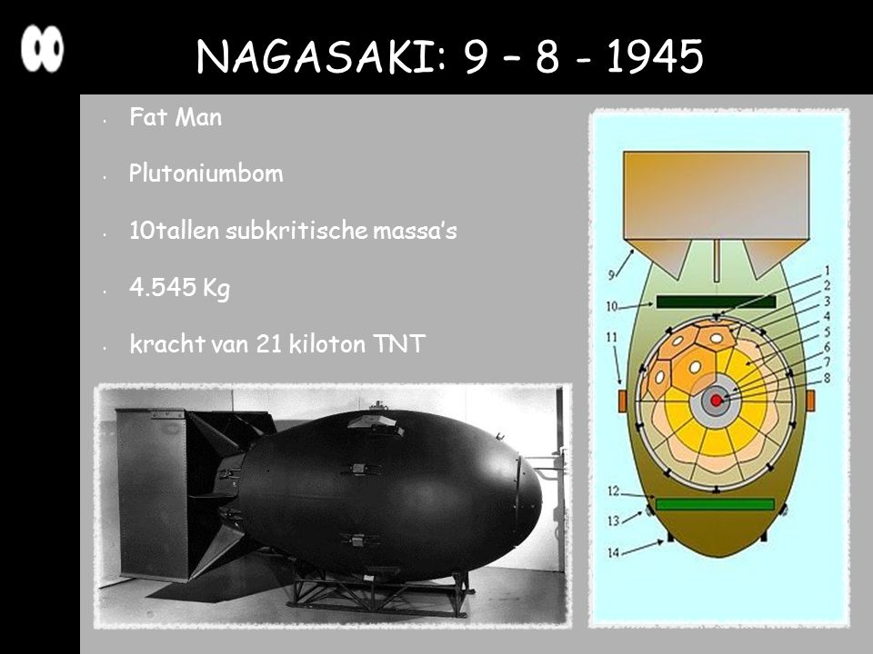 NAGASAKI: 9 – 8 - 1945 Fat Man Plutoniumbom