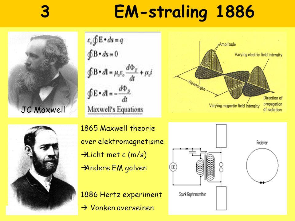 3 EM-straling 1886 JC Maxwell H Hertz 1865 Maxwell theorie