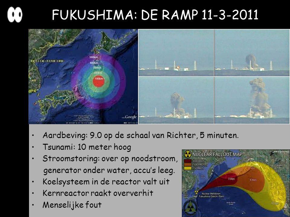 FUKUSHIMA: DE RAMP 11-3-2011 Aardbeving: 9.0 op de schaal van Richter, 5 minuten. Tsunami: 10 meter hoog.
