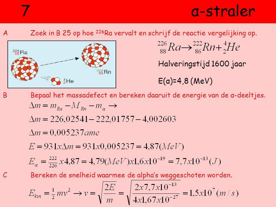 7 α-straler Halveringstijd 1600 jaar E(α)=4,8 (MeV)