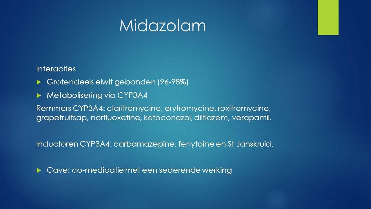 Midazolam Interacties Grotendeels eiwit gebonden (96-98%)