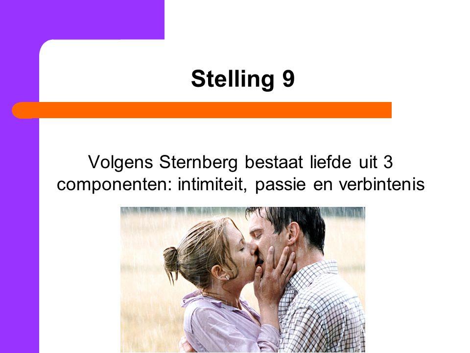 Stelling 9 Volgens Sternberg bestaat liefde uit 3 componenten: intimiteit, passie en verbintenis