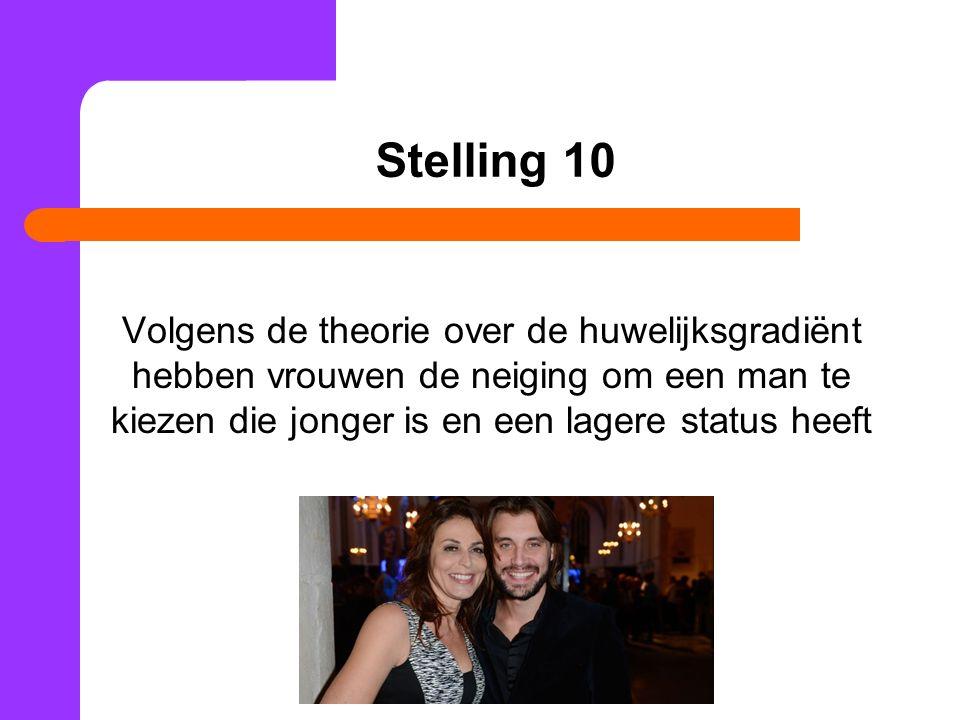 Stelling 10 Volgens de theorie over de huwelijksgradiënt hebben vrouwen de neiging om een man te kiezen die jonger is en een lagere status heeft.