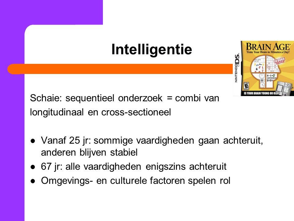 Intelligentie Schaie: sequentieel onderzoek = combi van