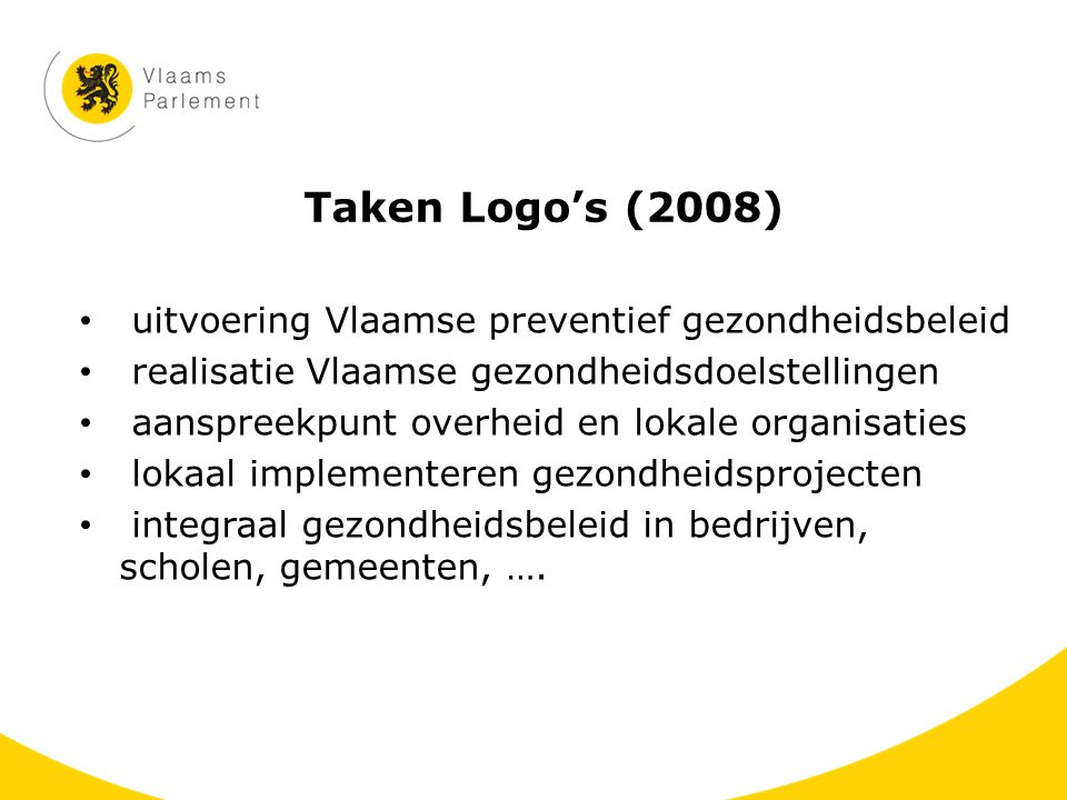 Taken Logo's (2008) uitvoering Vlaamse preventief gezondheidsbeleid