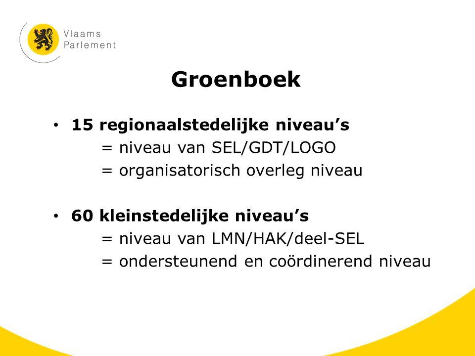 Groenboek 15 regionaalstedelijke niveau's = niveau van SEL/GDT/LOGO