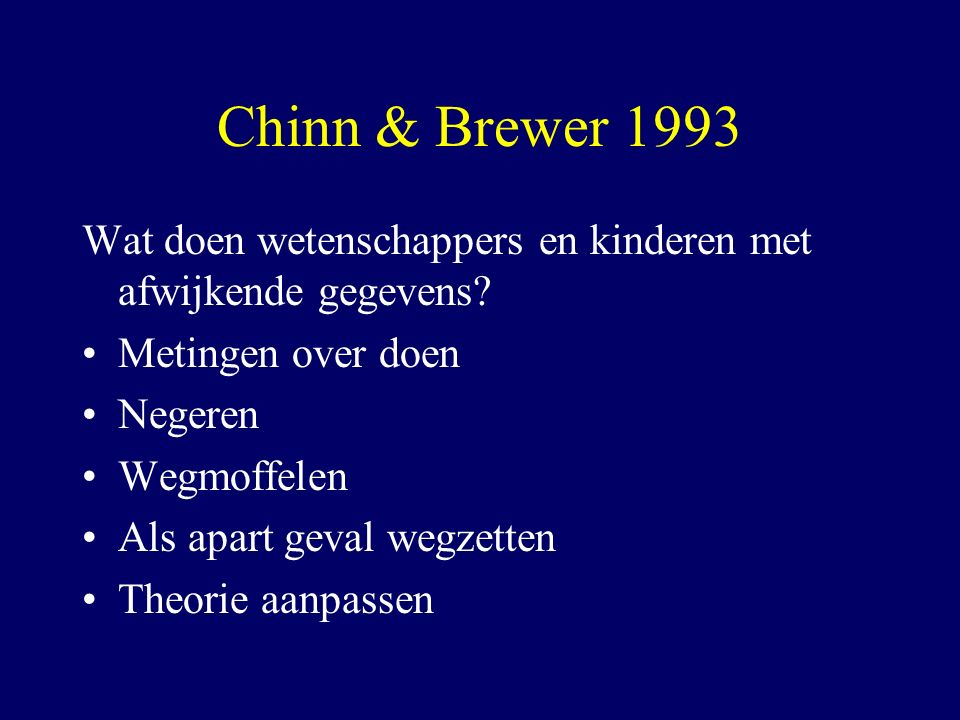 Chinn & Brewer 1993 Wat doen wetenschappers en kinderen met afwijkende gegevens Metingen over doen.