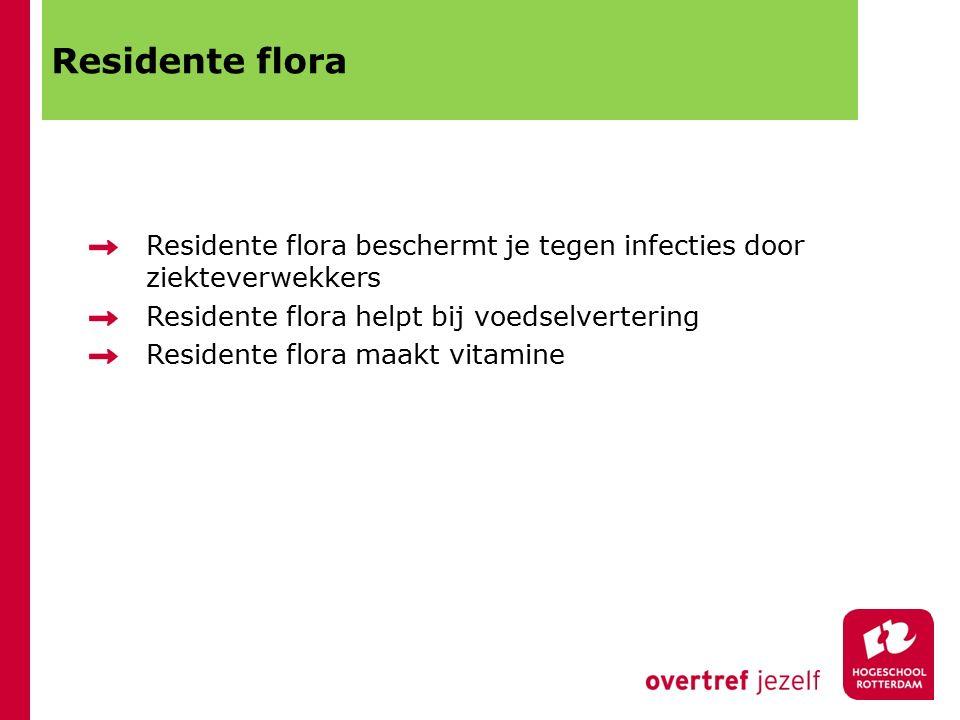 Residente flora Residente flora beschermt je tegen infecties door ziekteverwekkers. Residente flora helpt bij voedselvertering.