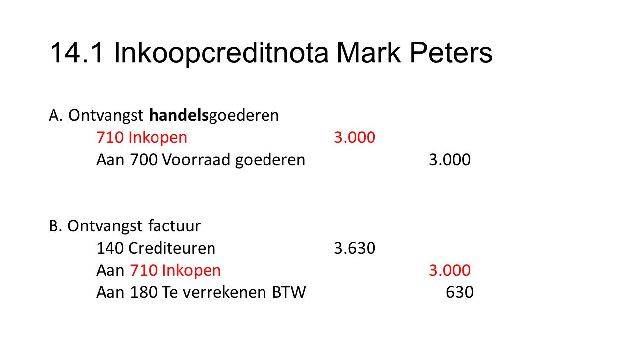 14.1 Inkoopcreditnota Mark Peters