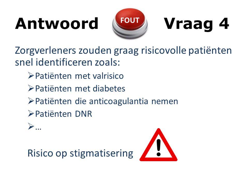 Antwoord Vraag 4 FOUT. Zorgverleners zouden graag risicovolle patiënten snel identificeren zoals: