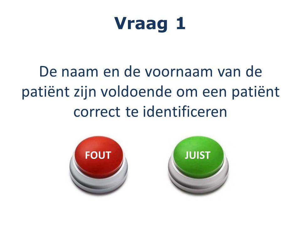 Vraag 1 De naam en de voornaam van de patiënt zijn voldoende om een patiënt correct te identificeren.