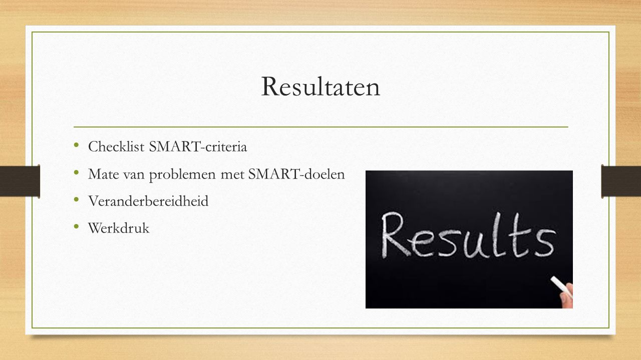 Resultaten Checklist SMART-criteria