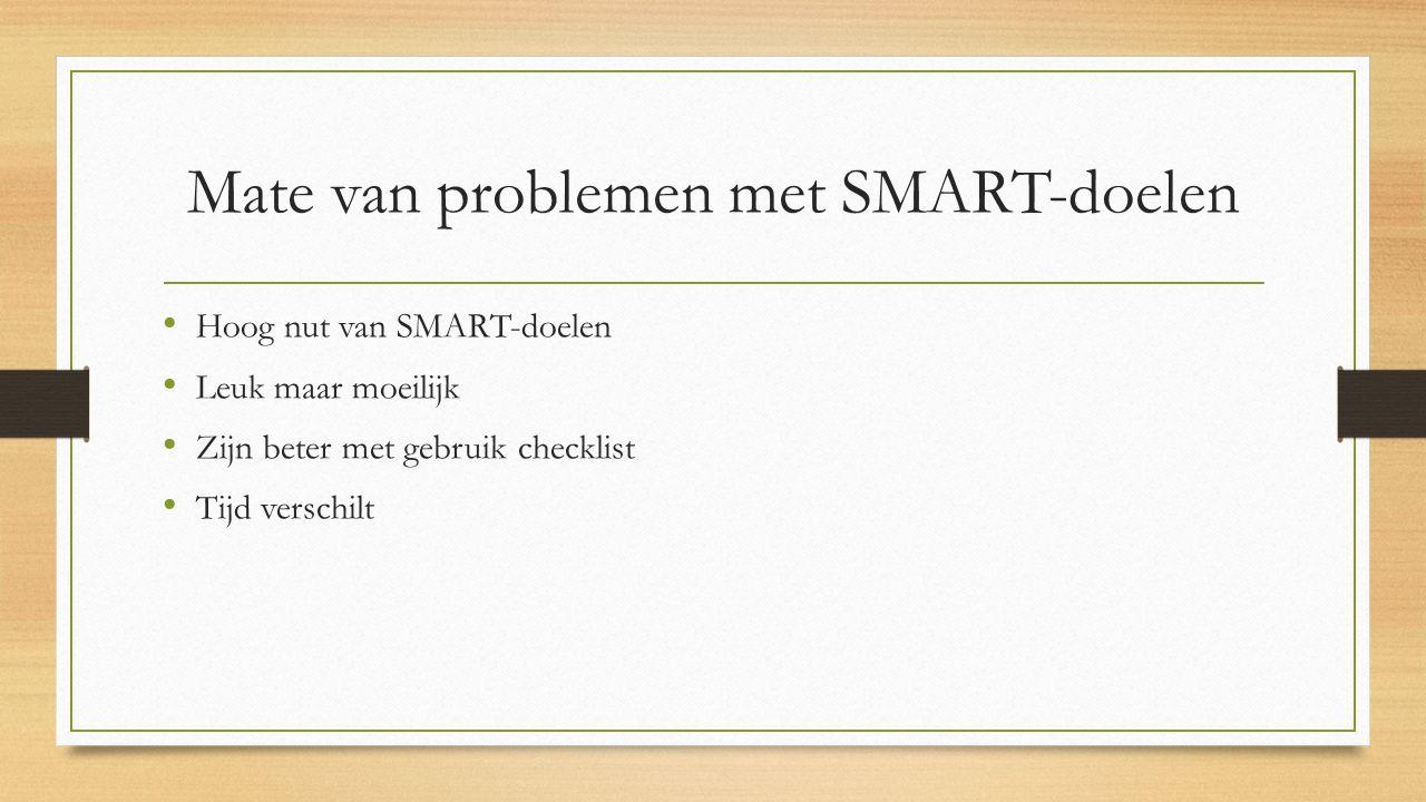 Mate van problemen met SMART-doelen