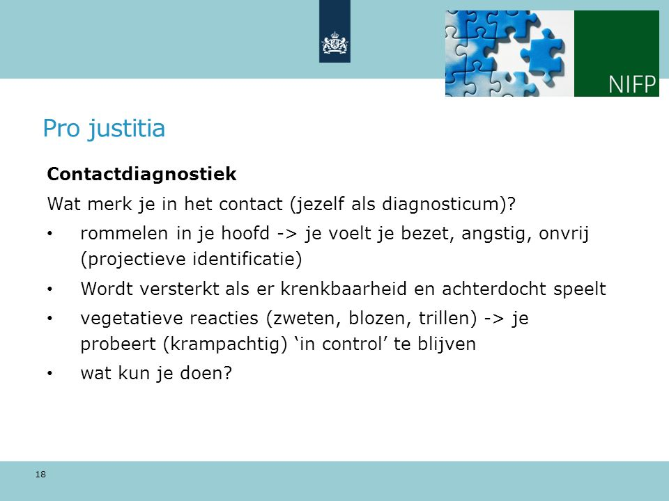 Pro justitia Contactdiagnostiek
