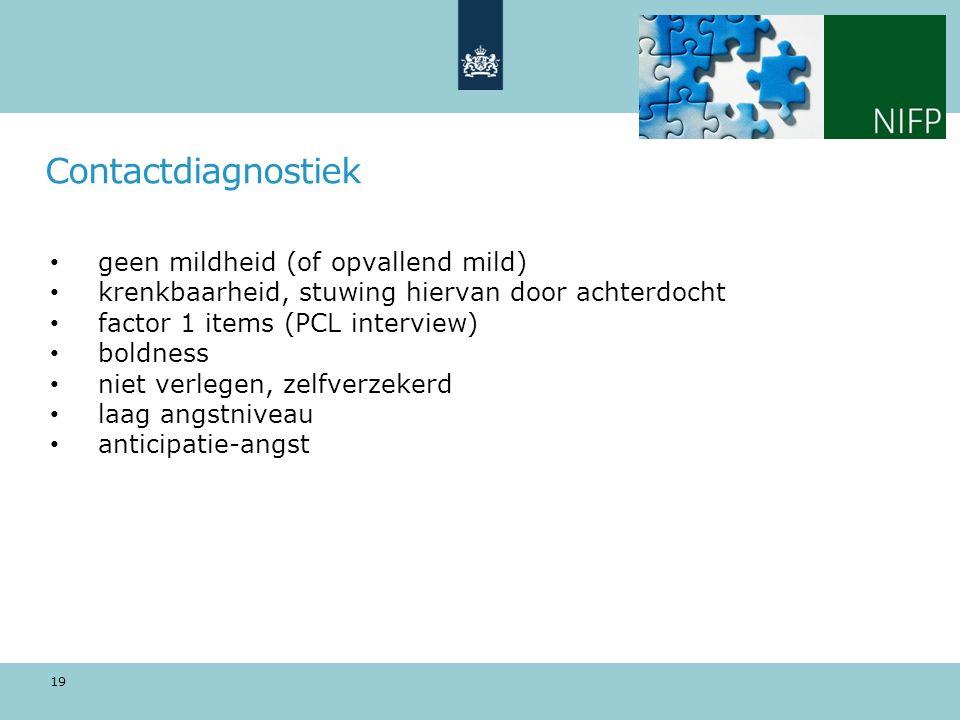 Contactdiagnostiek geen mildheid (of opvallend mild)