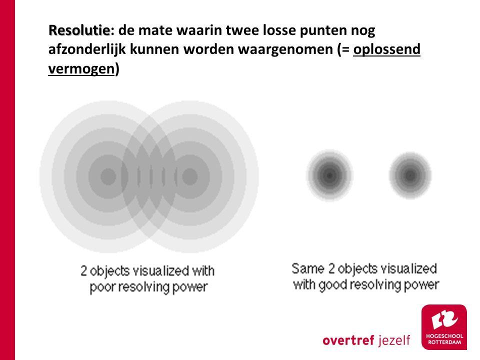 Resolutie: de mate waarin twee losse punten nog afzonderlijk kunnen worden waargenomen (= oplossend vermogen)